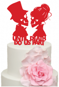 Until Death Do Us Part Skeleton Bride and Groom Halloween Wedding Acrylic Cake Topper